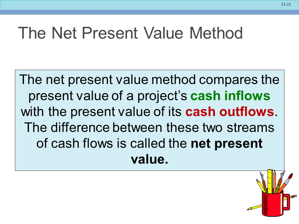 13-21 The Net Present Value Method The net present value method compares the present value of a project's cash inflows with the present value of its cash outflows.