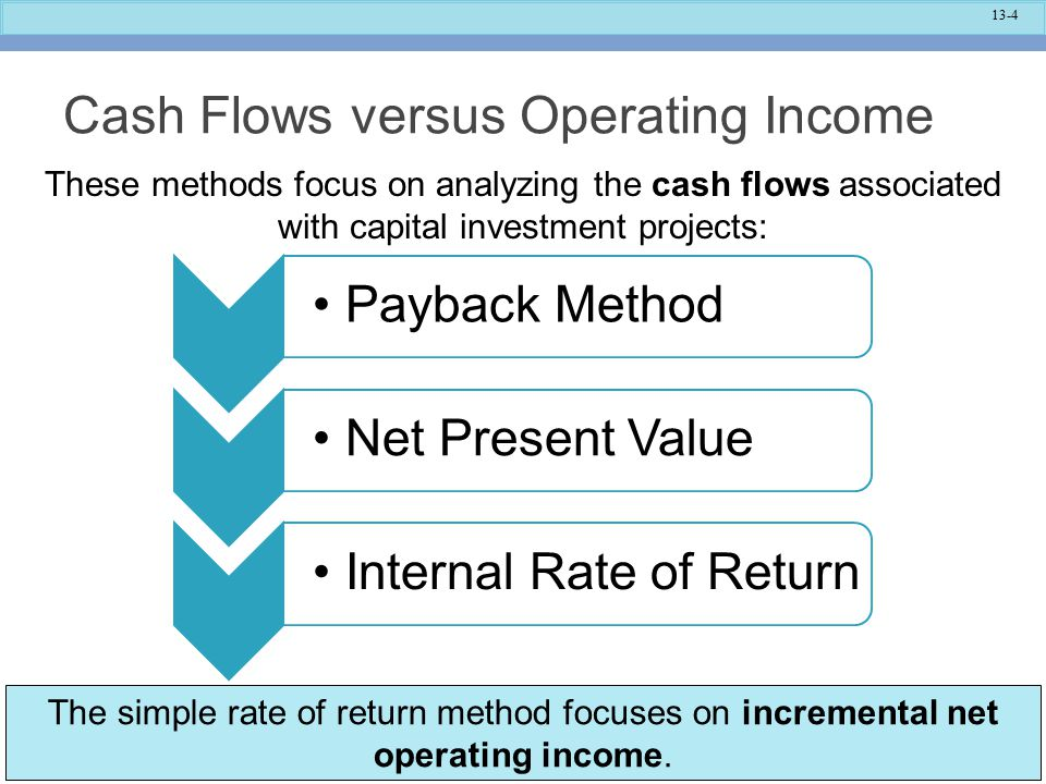 13-5 Typical Cash Outflows Repairs and maintenance Incrementaloperatingcosts InitialinvestmentWorkingcapital