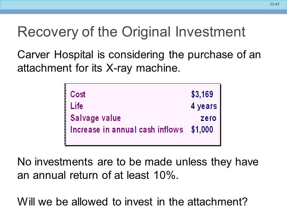 13-45 Recovery of the Original Investment Carver Hospital is considering the purchase of an attachment for its X-ray machine.