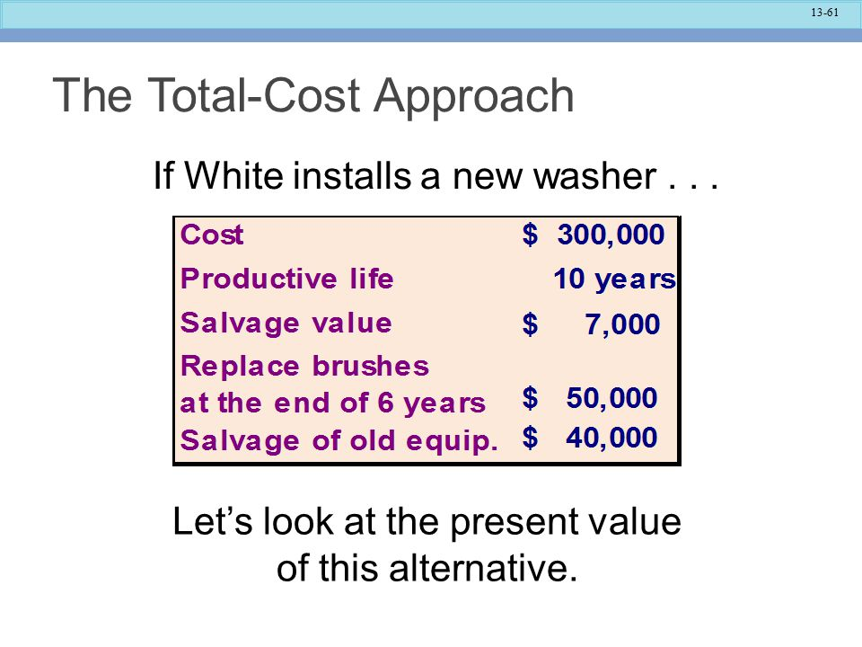 13-61 The Total-Cost Approach If White installs a new washer...