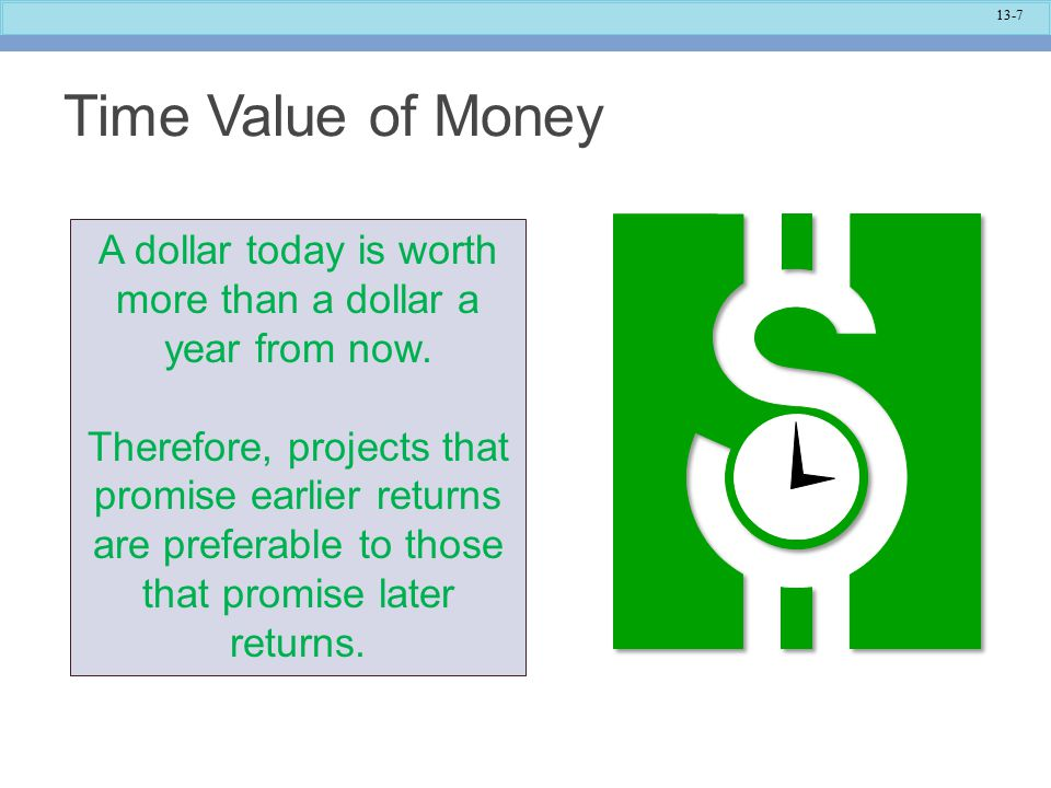 13-8 Time Value of Money The capital budgeting techniques that best recognize the time value of money are those that involve discounted cash flows.
