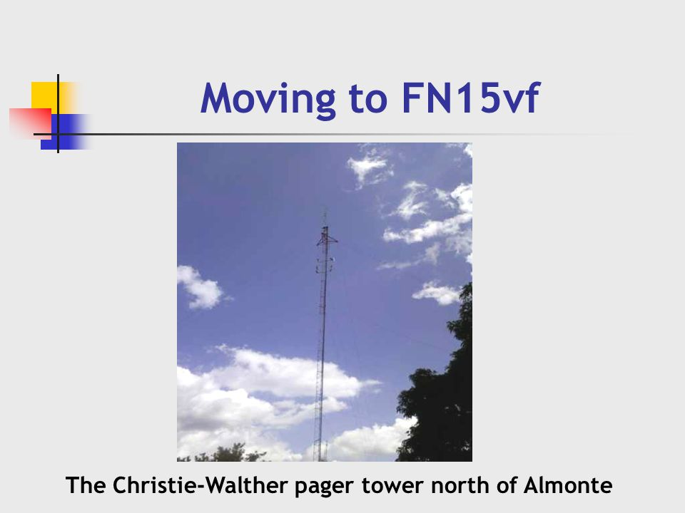 Moving to FN15vf The Christie-Walther pager tower north of Almonte