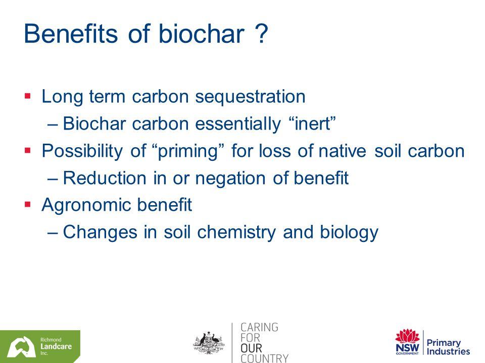 Benefits of biochar .