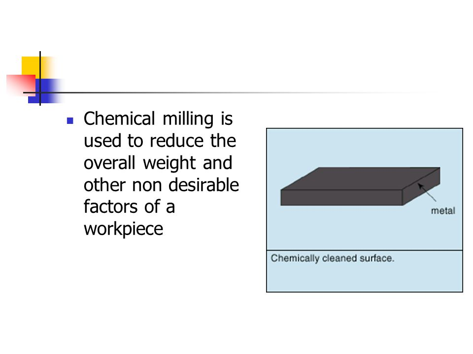 Chemical milling is used to reduce the overall weight and other non desirable factors of a workpiece