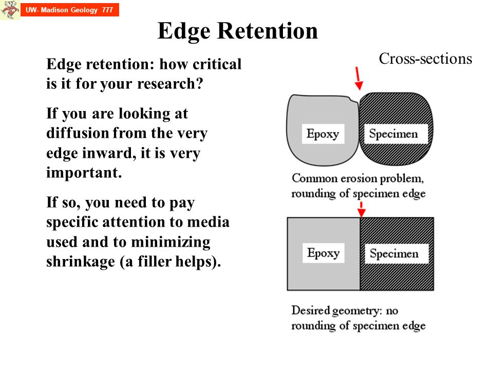 UW- Madison Geology 777 Edge Retention Edge retention: how critical is it for your research? If you are looking at diffusion from the very edge inward