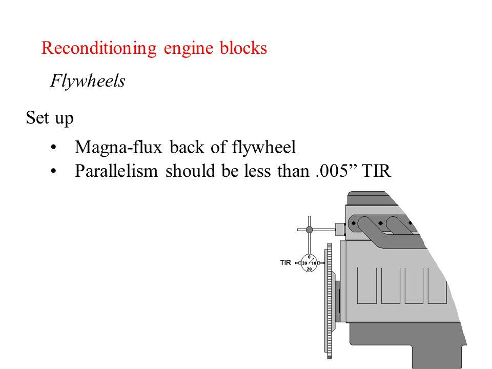 "Reconditioning engine blocks Flywheels Magna-flux back of flywheel Parallelism should be less than.005"" TIR Set up"