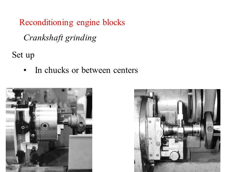 Reconditioning engine blocks Crankshaft grinding In chucks or between centers Set up
