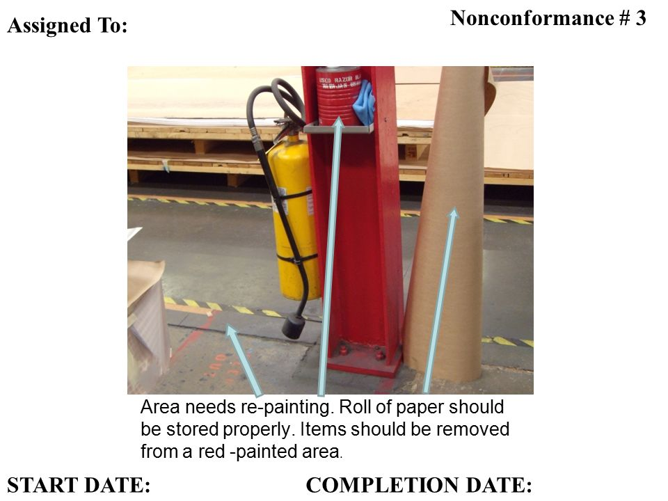 Area needs re-painting. Roll of paper should be stored properly.