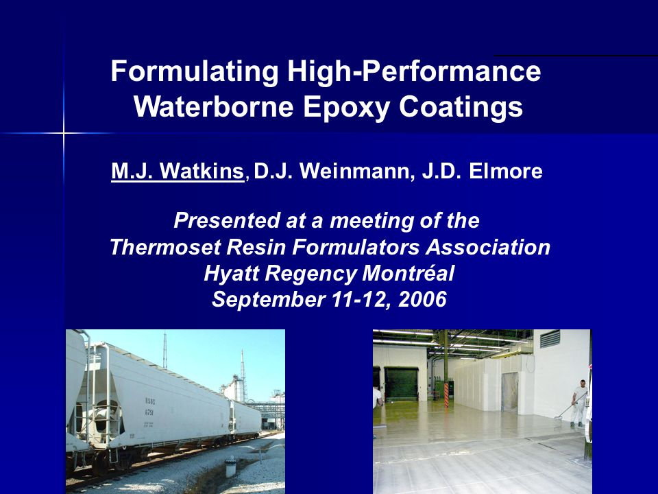 Mythbusters Waterborne epoxy coatings can never match the performance of solvent based systems Myth #1 Myth #2 I know how to formulate other waterborne systems, So I can use all my current tricks and additives to formulate waterborne epoxies