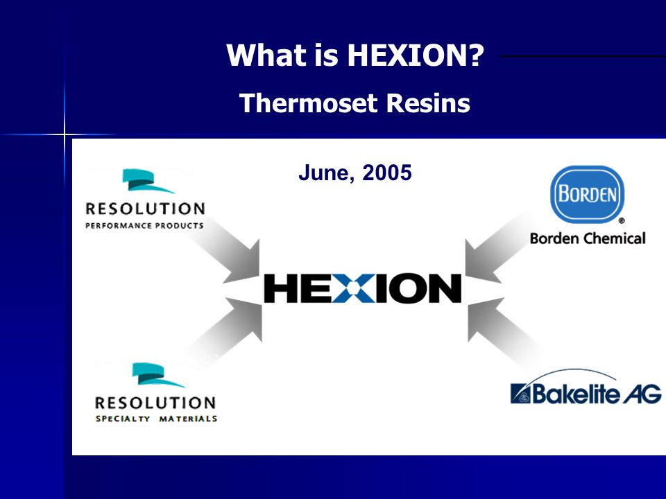June, 2005 What is HEXION? Thermoset Resins