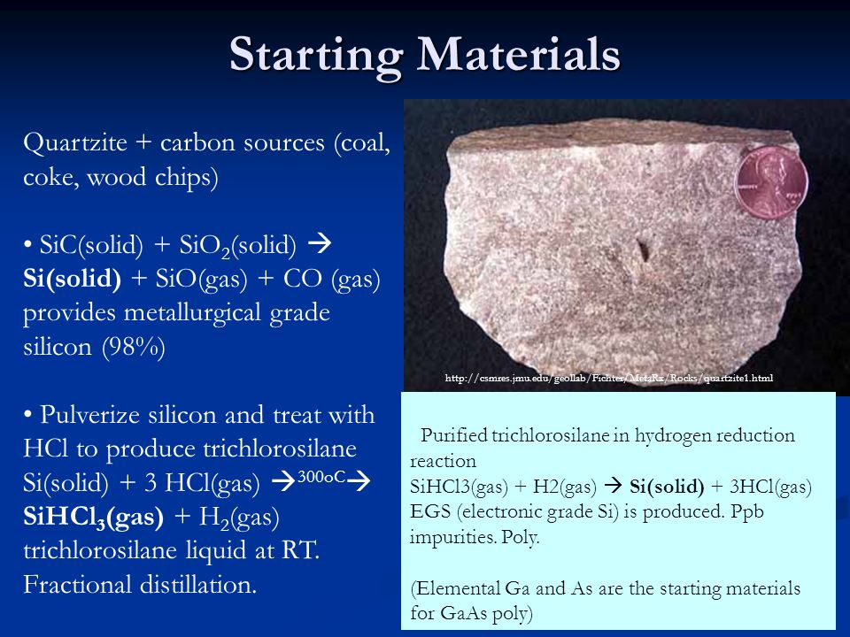 Starting Materials Quartzite + carbon sources (coal, coke, wood chips) SiC(solid) + SiO 2 (solid)  Si(solid) + SiO(gas) + CO (gas) provides metallurgical grade silicon (98%) Pulverize silicon and treat with HCl to produce trichlorosilane Si(solid) + 3 HCl(gas)  300oC  SiHCl 3 (gas) + H 2 (gas) trichlorosilane liquid at RT.