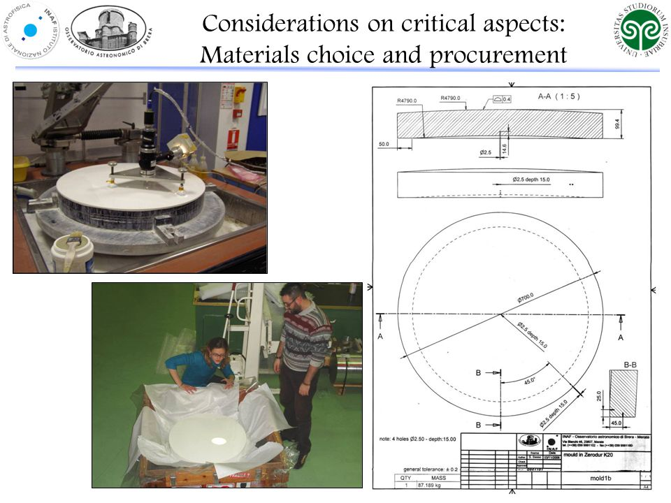 Considerations on critical aspects: Materials choice and procurement