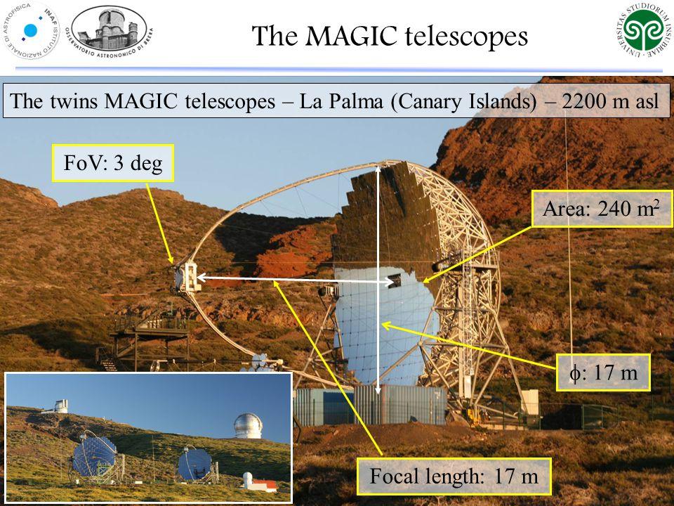 The MAGIC telescopes The twins MAGIC telescopes – La Palma (Canary Islands) – 2200 m asl Area: 240 m 2  17 m FoV: 3 deg Focal length: 17 m