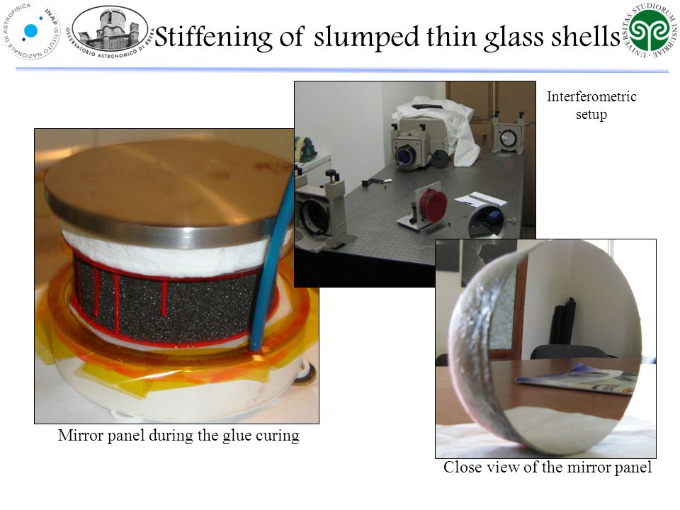 Mirror panel during the glue curing Interferometric setup Close view of the mirror panel Stiffening of slumped thin glass shells