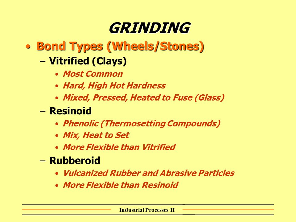 Industrial Processes II GRINDING Bond Types (Wheels/Stones)Bond Types (Wheels/Stones) –Vitrified (Clays) Most Common Hard, High Hot Hardness Mixed, Pr
