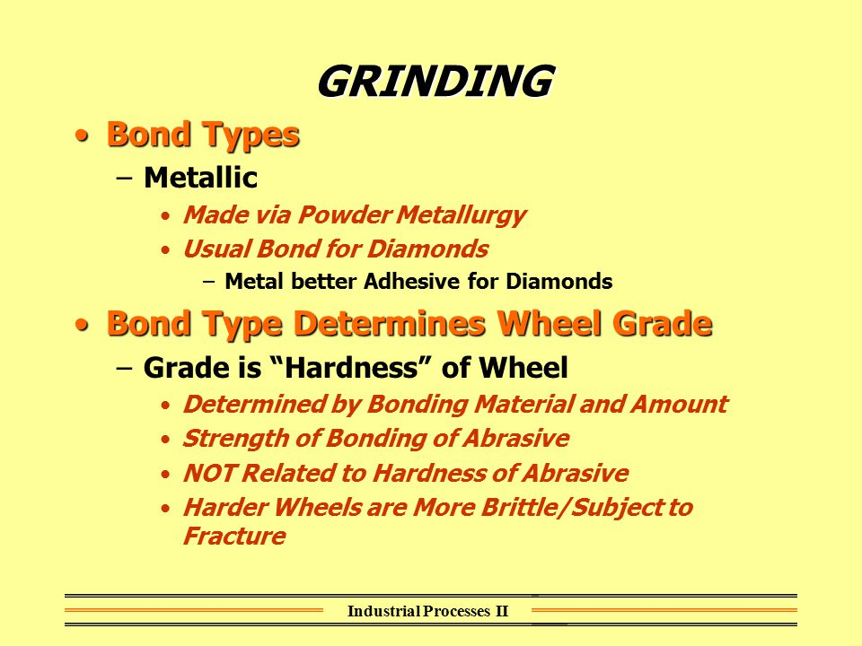 Industrial Processes II GRINDING Bond TypesBond Types –Metallic Made via Powder Metallurgy Usual Bond for Diamonds –Metal better Adhesive for Diamonds