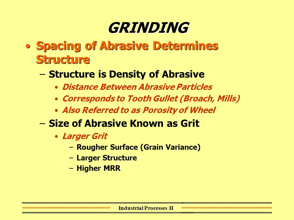 Industrial Processes II GRINDING Spacing of Abrasive Determines StructureSpacing of Abrasive Determines Structure –Structure is Density of Abrasive Di