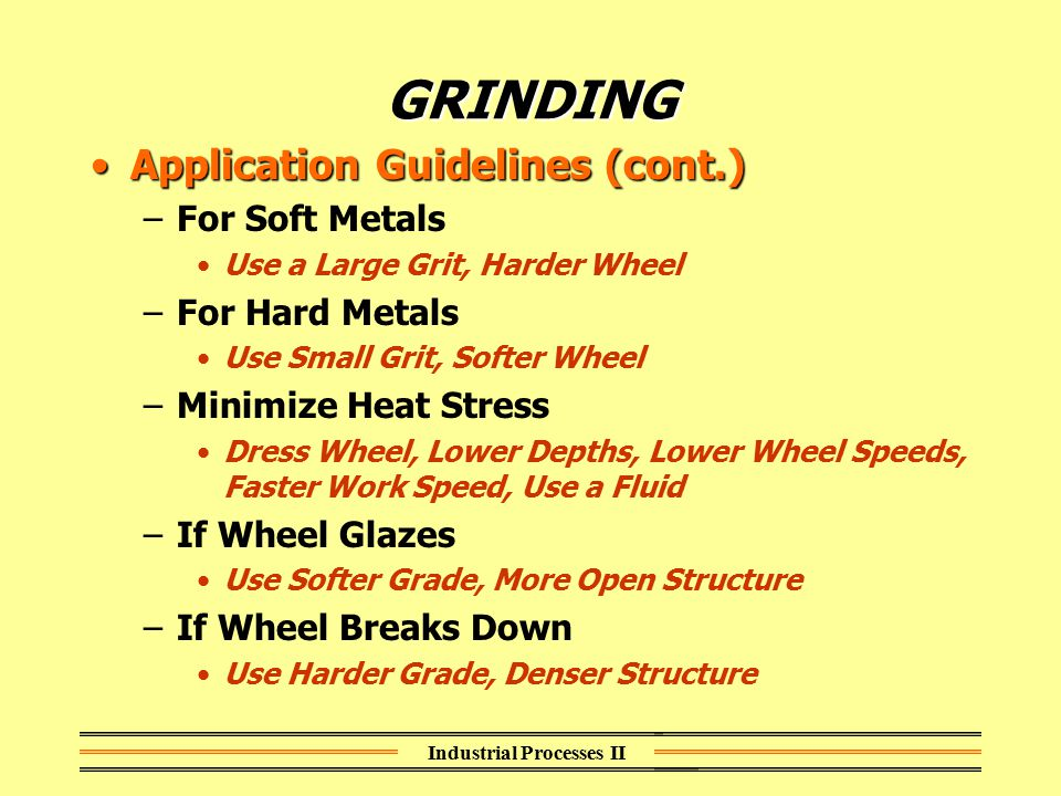 Industrial Processes II GRINDING Application Guidelines (cont.)Application Guidelines (cont.) –For Soft Metals Use a Large Grit, Harder Wheel –For Har
