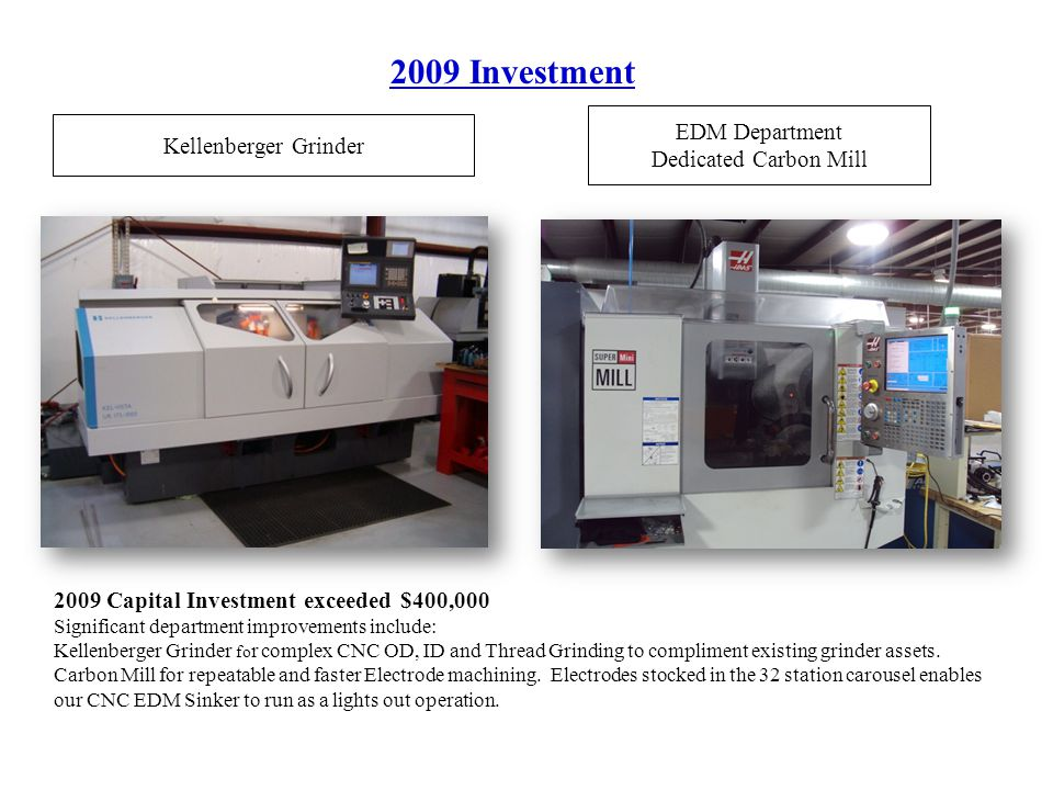 2009 Investment Kellenberger Grinder EDM Department Dedicated Carbon Mill 2009 Capital Investment exceeded $400,000 Significant department improvements include: Kellenberger Grinder fo r complex CNC OD, ID and Thread Grinding to compliment existing grinder assets.