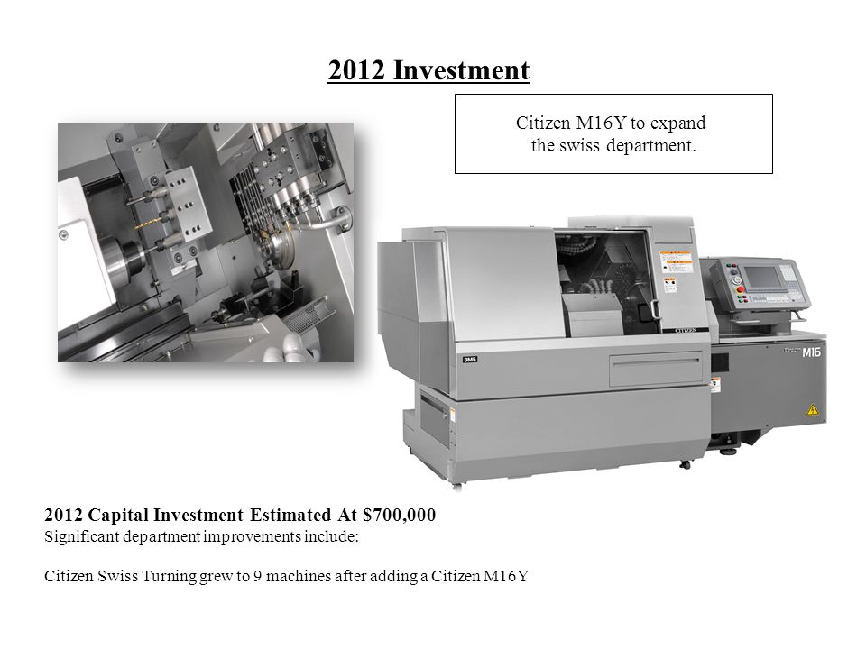 2012 Investment Citizen M16Y to expand the swiss department.