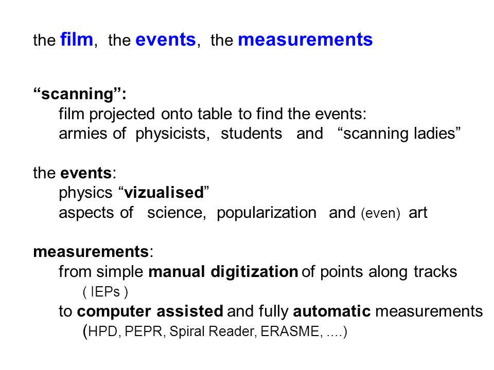 the film, the events, the measurements scanning : film projected onto table to find the events: armies of physicists, students and scanning ladies the events: physics vizualised aspects of science, popularization and (even) art measurements: from simple manual digitization of points along tracks ( IEPs ) to computer assisted and fully automatic measurements ( HPD, PEPR, Spiral Reader, ERASME,....)