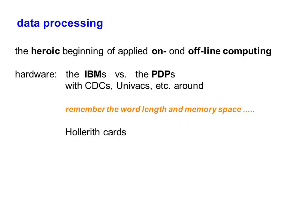 data processing the heroic beginning of applied on- ond off-line computing hardware: the IBMs vs.