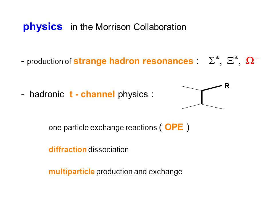 physics in the Morrison Collaboration - production of strange hadron resonances :       - hadronic t - channel physics : one particle exchange reactions ( OPE ) diffraction dissociation multiparticle production and exchange R