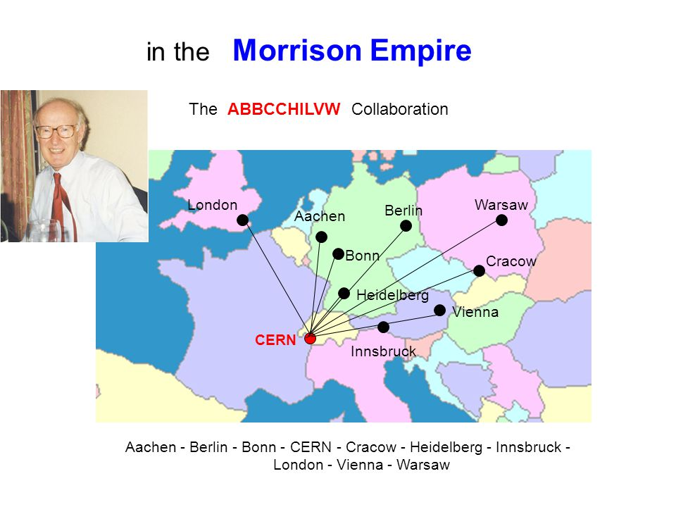 London Aachen Bonn Berlin Cracow Warsaw Vienna Innsbruck CERN The ABBCCHILVW Collaboration Aachen - Berlin - Bonn - CERN - Cracow - Heidelberg - Innsbruck - London - Vienna - Warsaw Heidelberg in the Morrison Empire