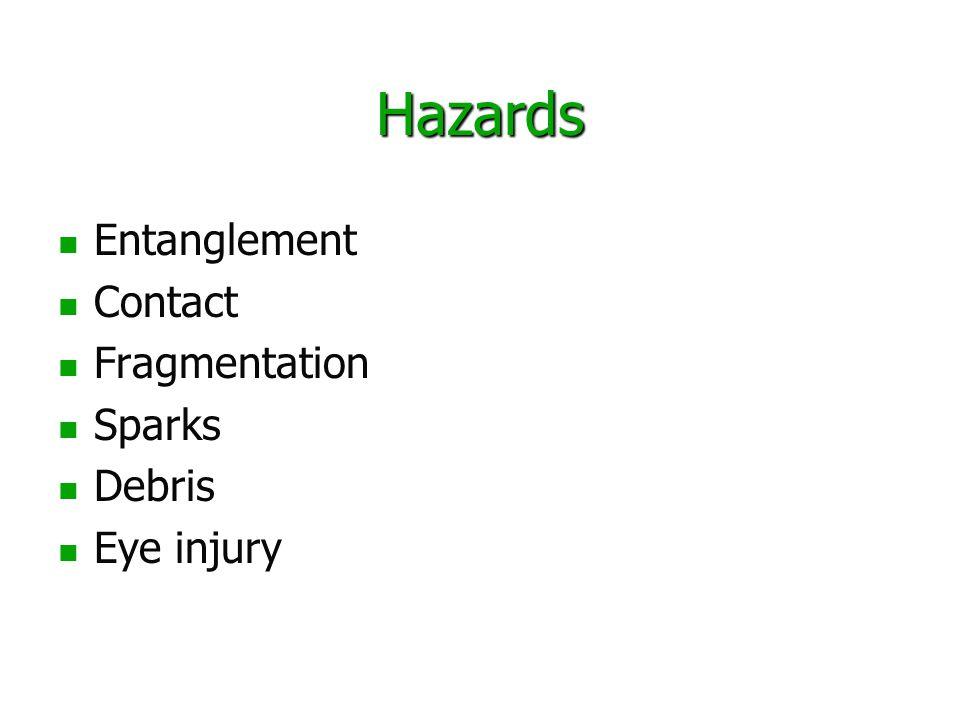 Hazards Entanglement Contact Fragmentation Sparks Debris Eye injury