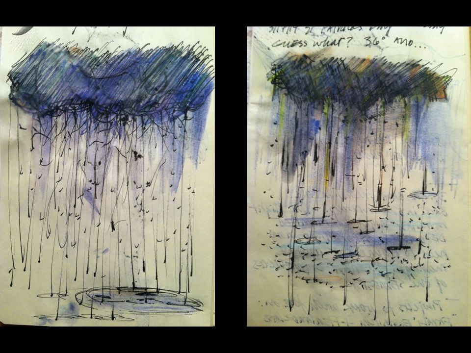 Eventually I just started covering the whole notebook page with images of rain...