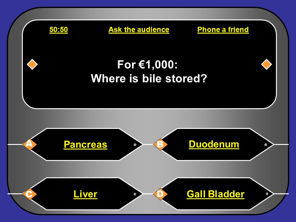 Phone a friend Hello, it's Chris Tarrant on Who wants to be a millionaire, this question is for €500. That's definitely B Back to question