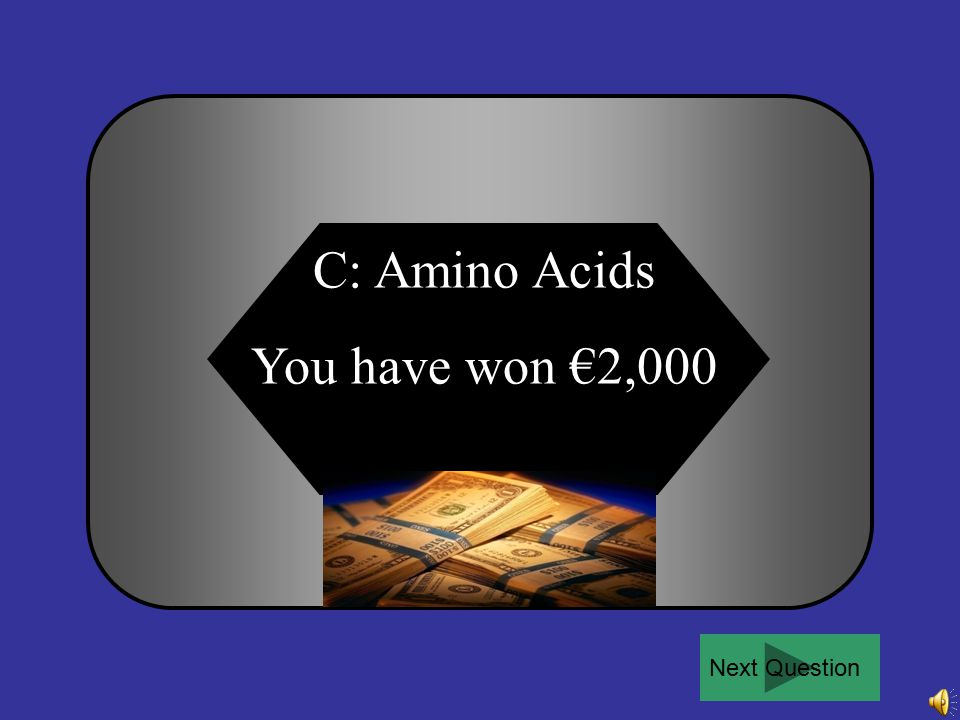 For €2,000: What are the products of protein digestion? A B C D Disaccharides Monosaccharides Amino Acids Fatty Acids and Glycerol 50:50Ask the audien