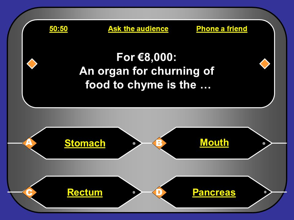 Phone a friend Hello, it's Chris Tarrant on Who wants to be a millionaire, this question is for €4,000. It is definitely A... Wait a minute it may be