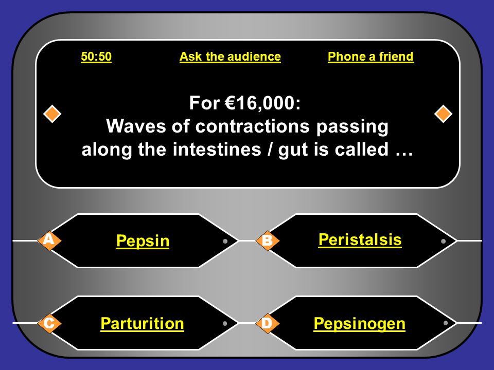 Phone a friend Hello, it's Chris Tarrant on Who wants to be a millionaire, this question is for €8,000. I am not sure, I would guess A Back to questio