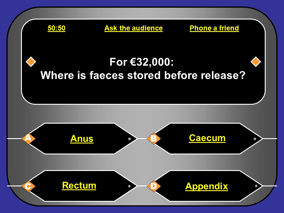 Phone a friend Hello, it's Chris Tarrant on Who wants to be a millionaire, this question is for €16,000. I am not sure, I'd chance B Back to question