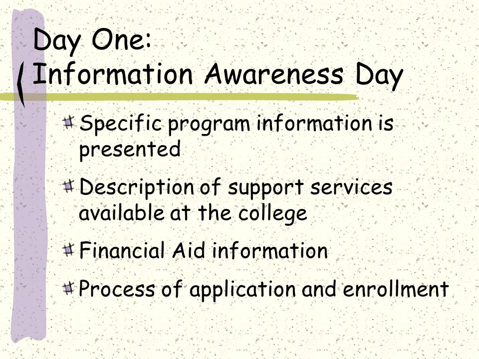 Day One: Information Awareness Day Specific program information is presented Description of support services available at the college Financial Aid information Process of application and enrollment