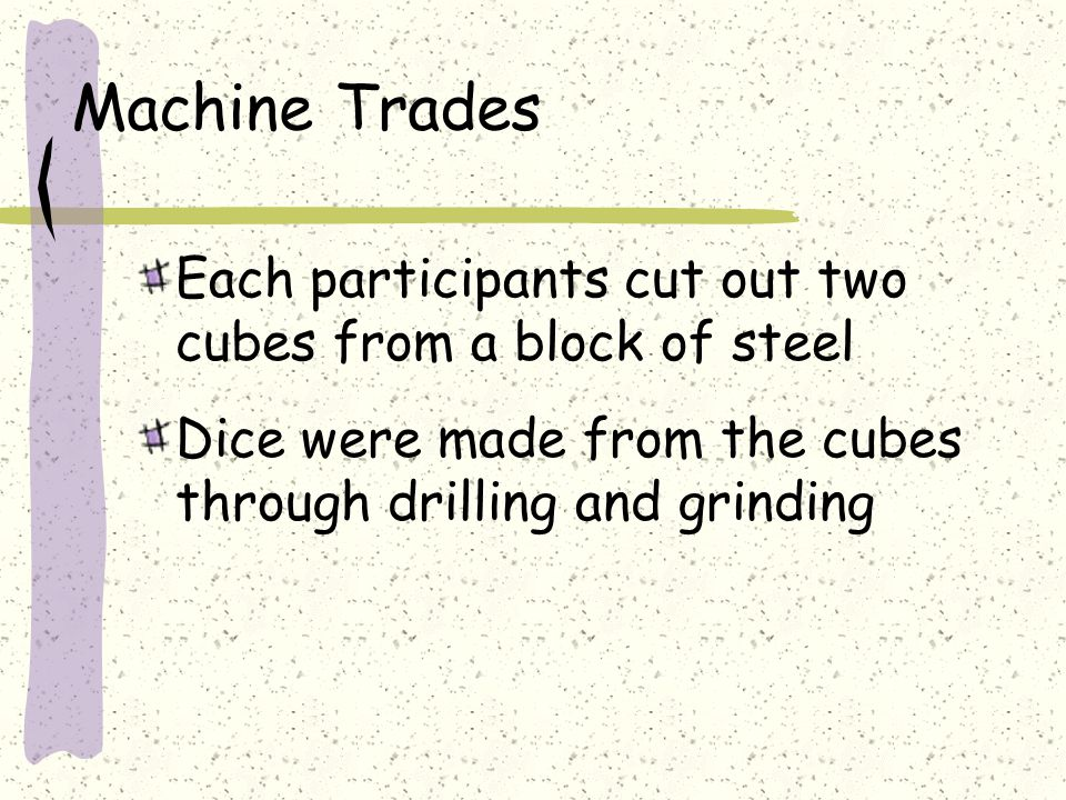 Machine Trades Each participants cut out two cubes from a block of steel Dice were made from the cubes through drilling and grinding