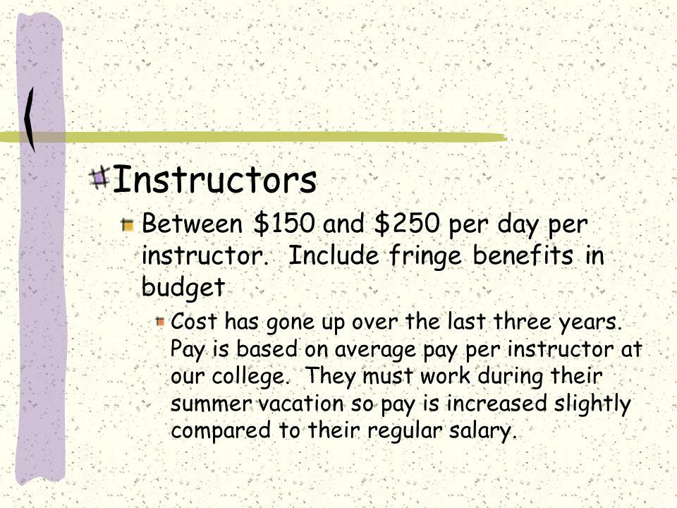 Instructors Between $150 and $250 per day per instructor.