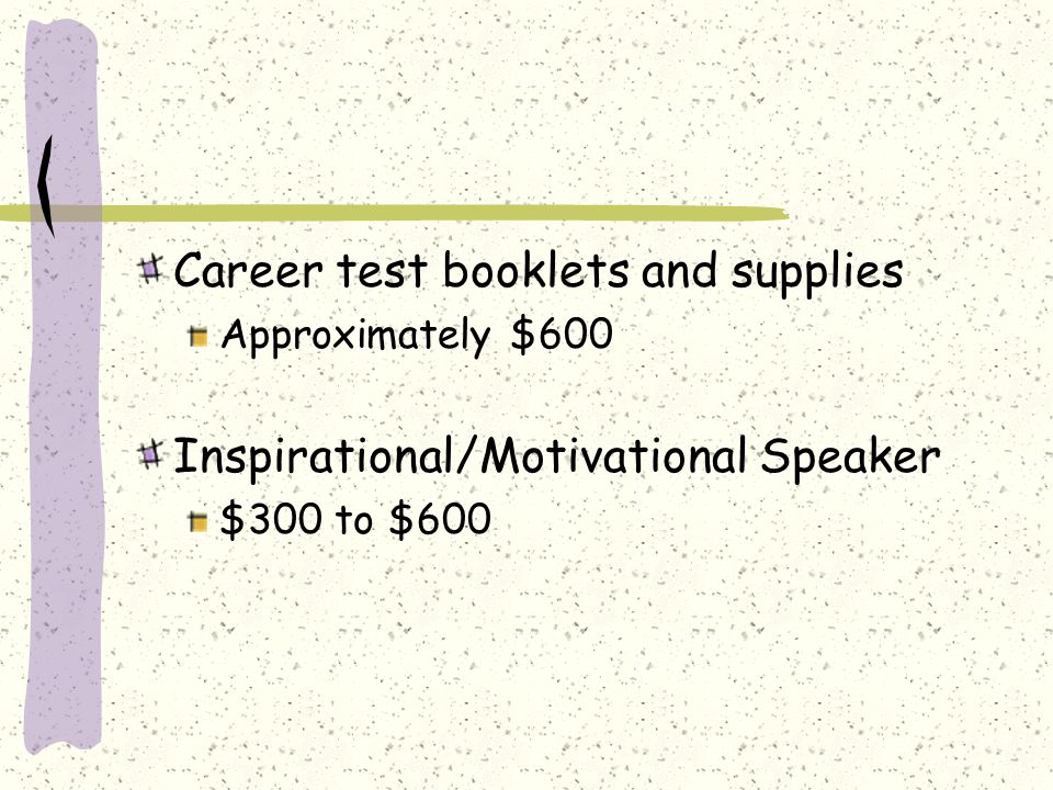 Career test booklets and supplies Approximately $600 Inspirational/Motivational Speaker $300 to $600