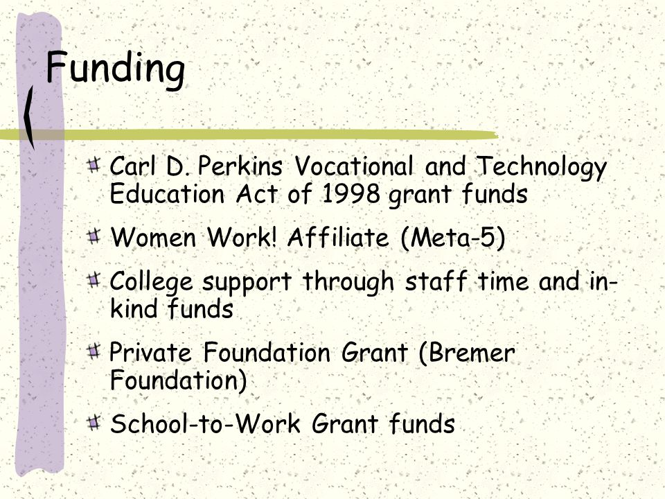 Funding Carl D. Perkins Vocational and Technology Education Act of 1998 grant funds Women Work.