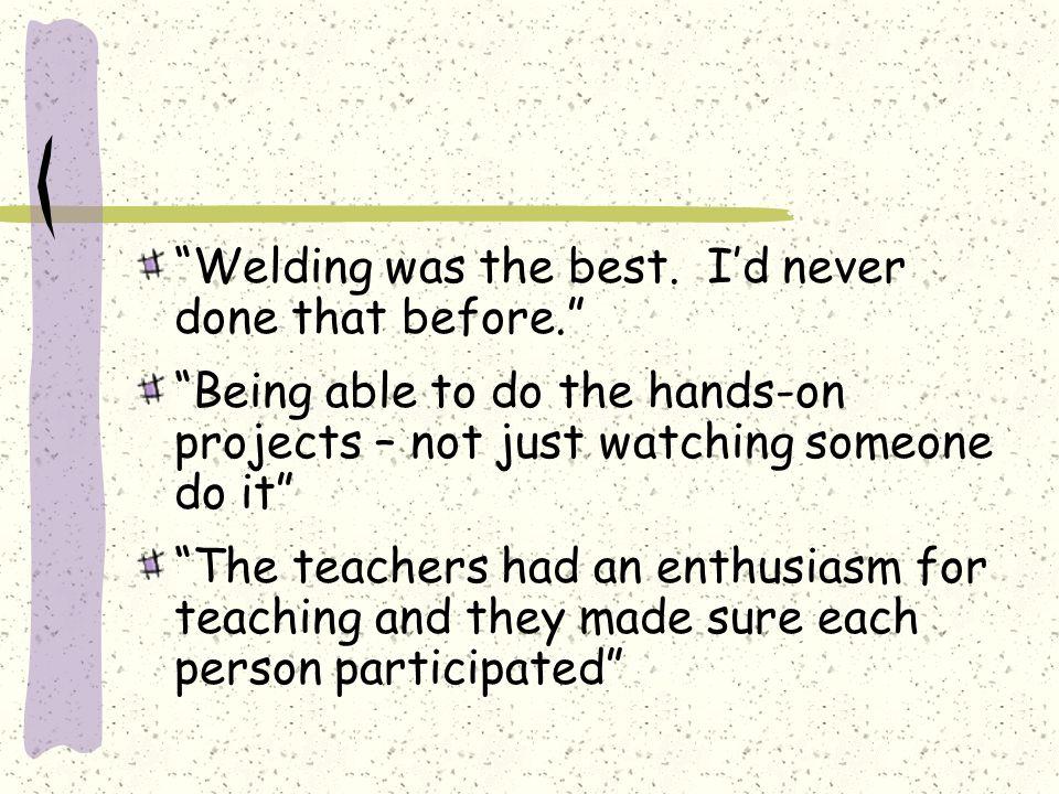Welding was the best.