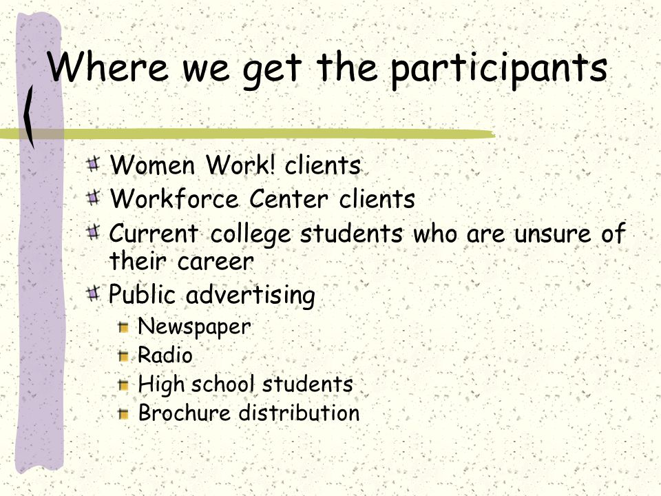 Where we get the participants Women Work.