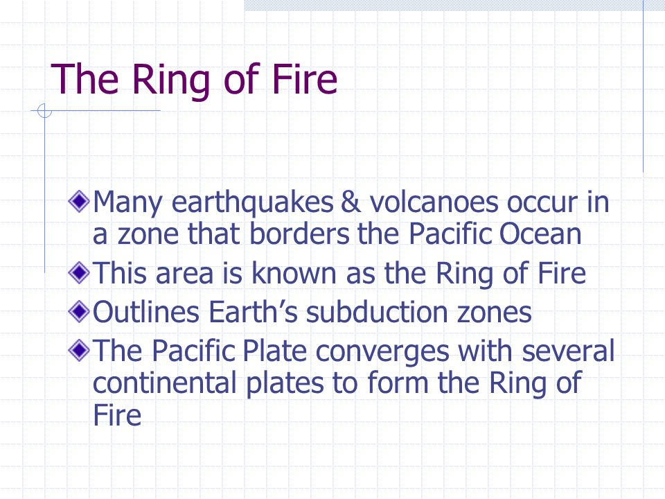 The Ring of Fire Many earthquakes & volcanoes occur in a zone that borders the Pacific Ocean This area is known as the Ring of Fire Outlines Earth's subduction zones The Pacific Plate converges with several continental plates to form the Ring of Fire
