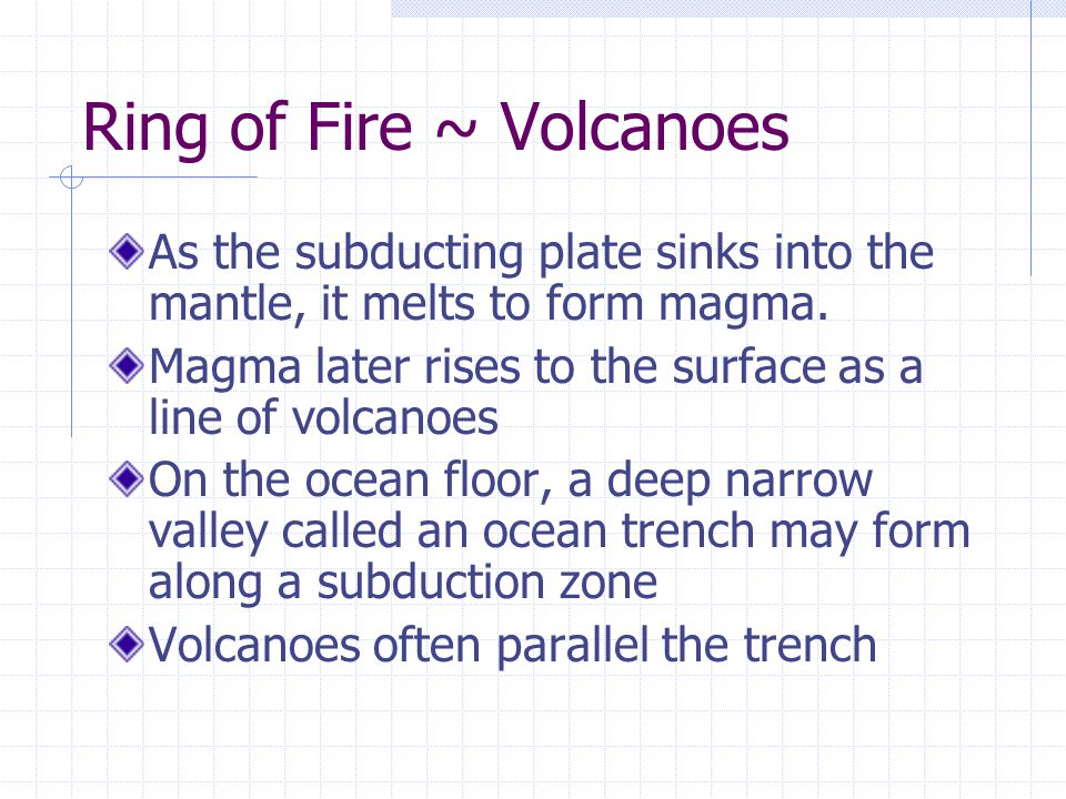 Ring of Fire ~ Volcanoes As the subducting plate sinks into the mantle, it melts to form magma.