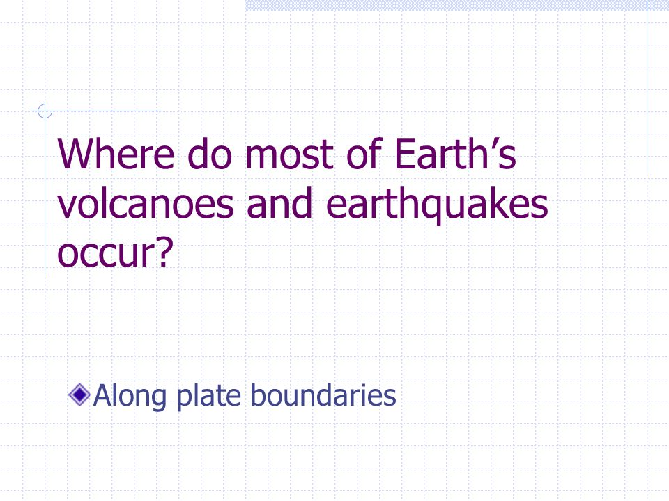 Where do most of Earth's volcanoes and earthquakes occur Along plate boundaries