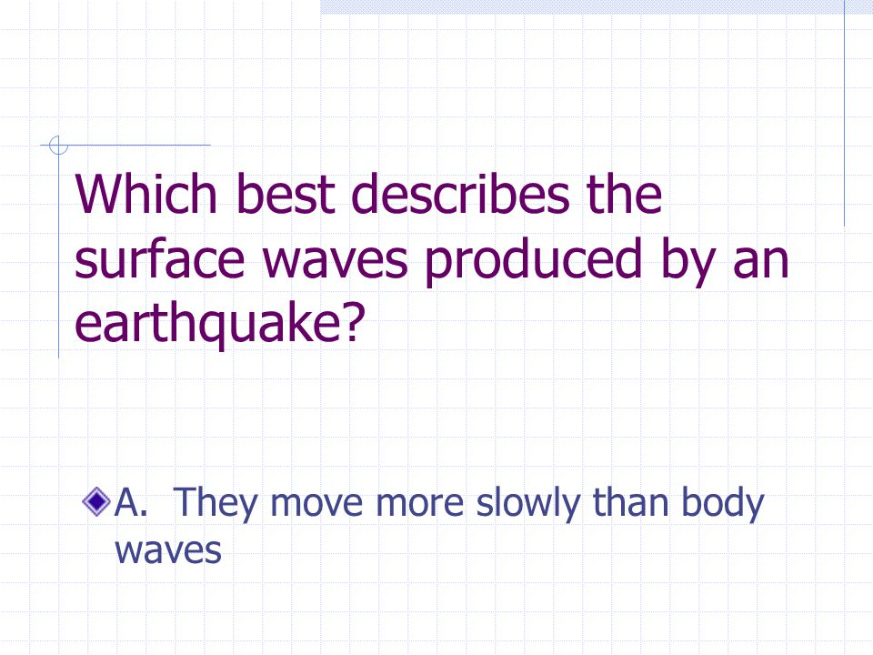 Which best describes the surface waves produced by an earthquake.