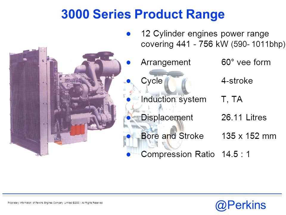 @Perkins Proprietary Information of Perkins Engines Company Limited ©2000 - All Rights Reserved 3000 Series Product Range 12 Cylinder engines power ra