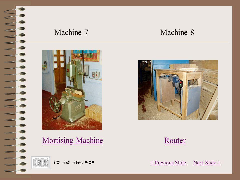 Next Slide >< Previous Slide Mr A. Atkinson Mortising Machine Machine 7Machine 8 Router