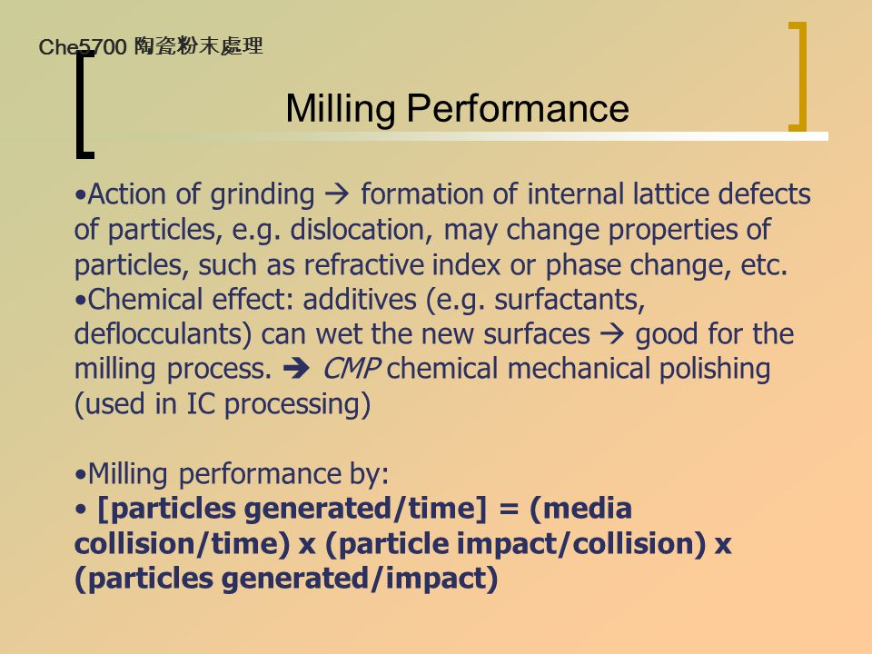 Milling Performance Action of grinding  formation of internal lattice defects of particles, e.g. dislocation, may change properties of particles, suc