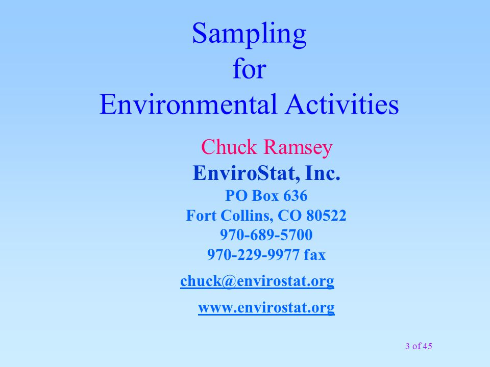 34 of 45 Example (cont) Check particle size representatives FE percent = 120% Compliments of EnviroStat, Inc.